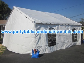 20x20 white tent with walls and clear windows for rent