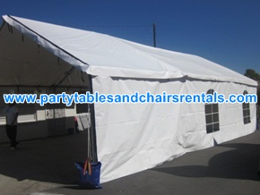 20x30 white tent with walls and clear windows for rent