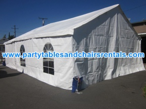 Renting 20x20 white tent with walls and clear windows