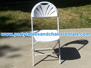 White folding chair with round back for rent los angeles CA