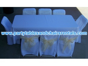 White cloth covers for rectagular folding tables and folding chairs