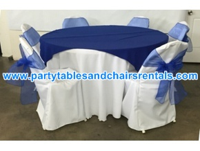 Blue round folding tables covers and folding chairs covers