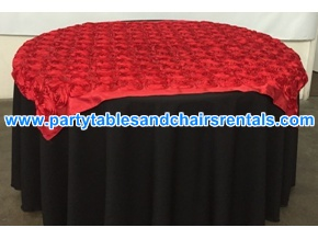 Red with black round folding table cover for sale