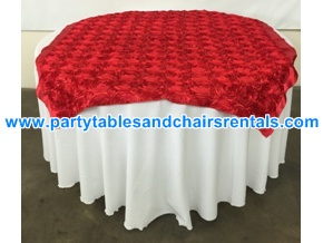 Bright red round folding table cover for sale